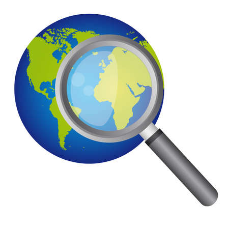 planet and magnifying glass over white backgroud. vector illustration Vector