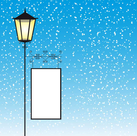 edwardian: lamp street with space to copy over winter landscape. vector