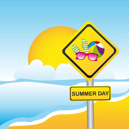 summer day yellow sign over beach. vector illustration Vector