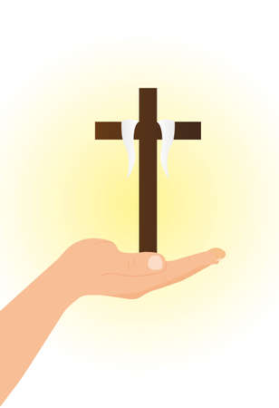 hand with brown cross over light vector illustration Vector