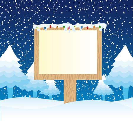 wooden sign over winter landscape. vector illustration Vector