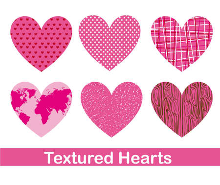 cute pink hearts with textured over white background. vector