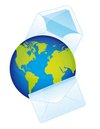 chatbox: planet with envelope over white background. vector illustration