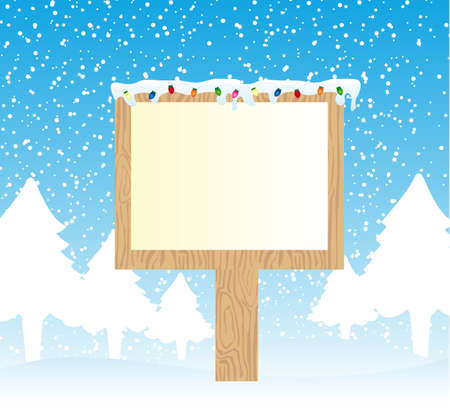 wooden sign over snow with light merry christmas. vector Vector
