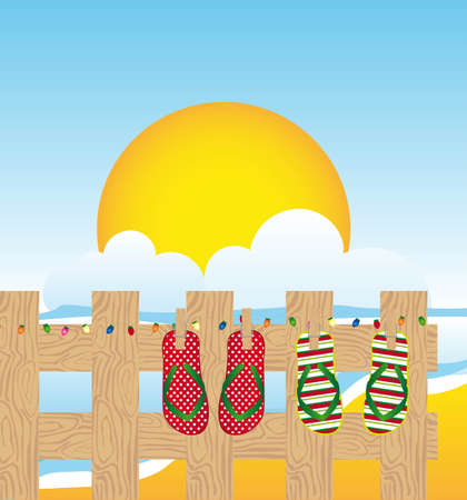 summer landscape with flip flops vector illustration Stock Vector - 11618535