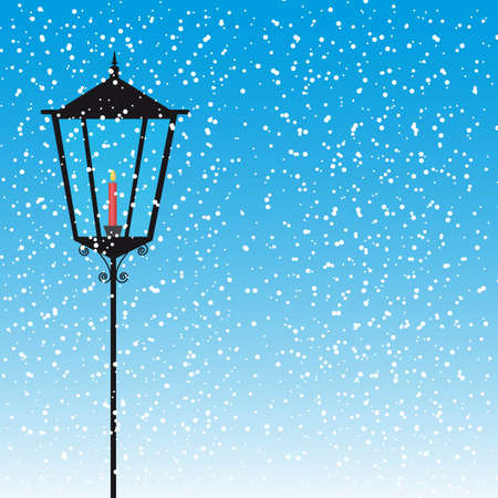 edwardian: lamp street with candle over snow vector illustration