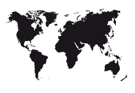 world map outline: black silhouette map isolated over white background. vector