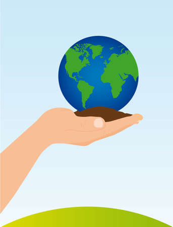 hand holding soil and planet vector illustration. conceptual image Vector