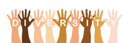 multicultureel: diverstity handen op een witte achtergrond. vectorillustratie