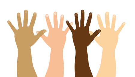 racial: open hands isolated over white background. vector illustration Illustration