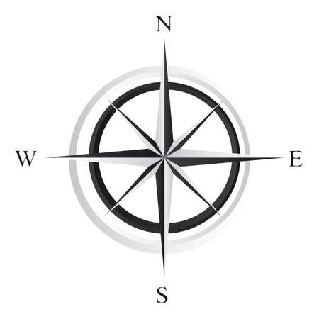 nautical star: black and white compass rose over white background. vector Illustration