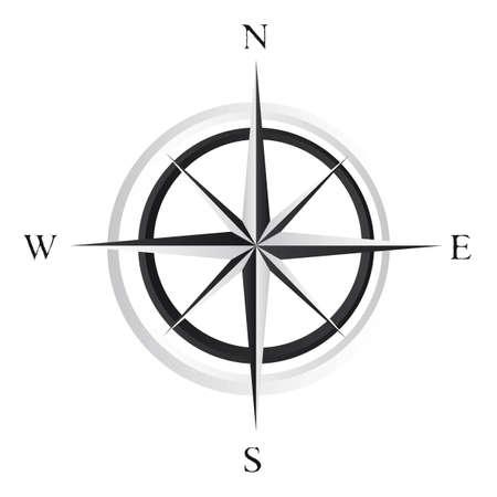 ir�ny: fekete-fehér szélrózsa fölött fehér háttér. vektor Illusztráció