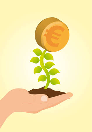 plant with euro coin sign over yellow background. vector Stock Vector - 11618447