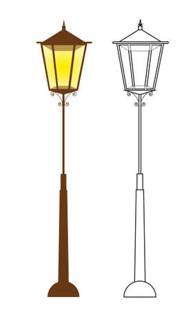 vector lamp: lamp street and silhouette lamp street. vector illustration