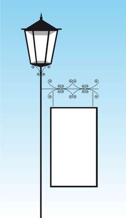 sky lantern: lampadaire noir avec copie espace sur le ciel. illustration vectorielle