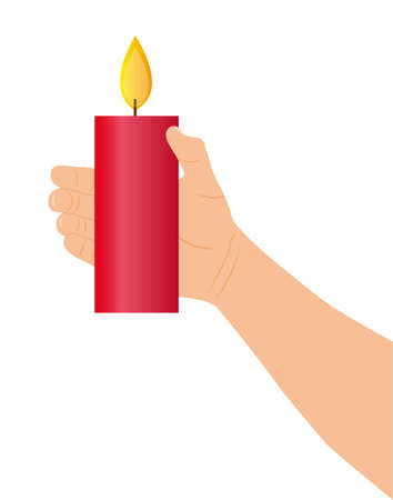 hand holding red candle over white background. vector Vector