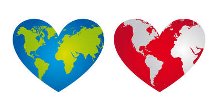 geography background: blue and red heart-shaped planet vector illustration