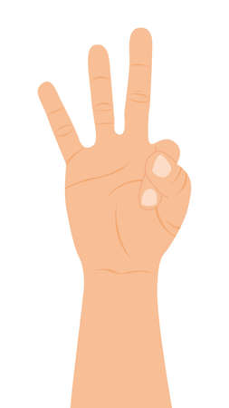 hand with three fingers up over white background. vector Stock Vector - 11618388