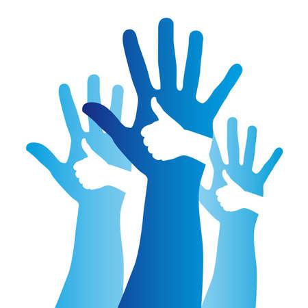 bleu entre de bonnes mains et ouverte signer sur fond blanc. vecteur
