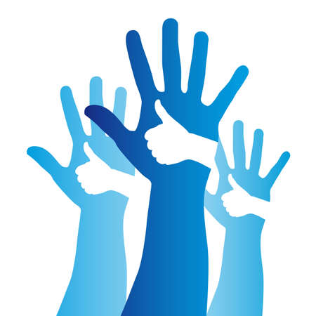 deafness: blue good and open hands sign over white background. vector