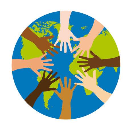 multicultureel: diversiteit over hele wereld op een witte achtergrond. vectorillustratie Stock Illustratie