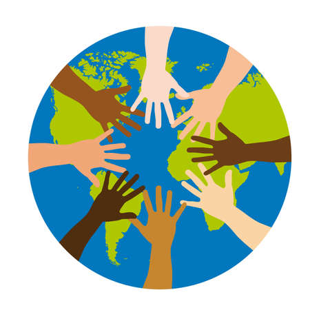 racial: diversity over world over white background. vector illustration Illustration