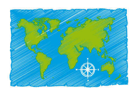 green and blue sketch of world map vector illustration Vector