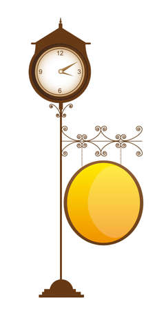 old clock street with space advertising vector illustration Vector