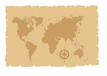 vieille carte sur vieux papier avec la rose des vents illustration vectorielle