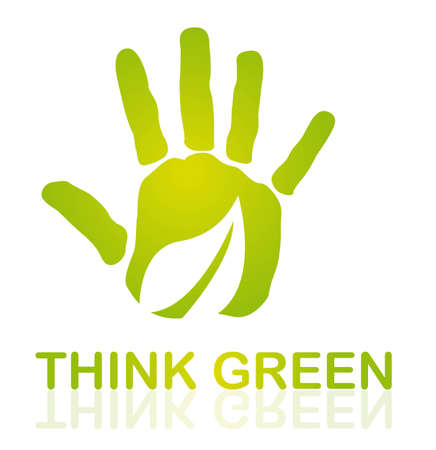 green hand with leaf over white background. vector Stock Vector - 11618453