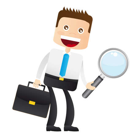 businessman with magnifying glass and suitcase. vector  Vector