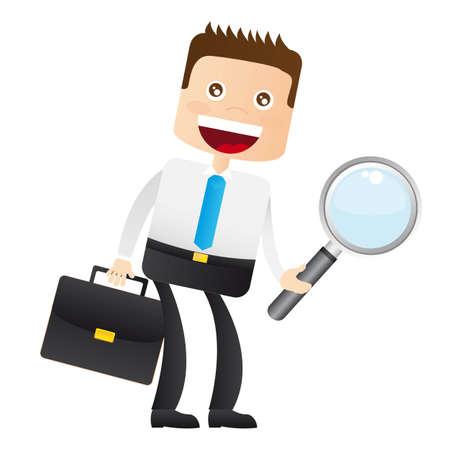 administrador de empresas: hombre de negocios con lupa y una maleta. vector Vectores