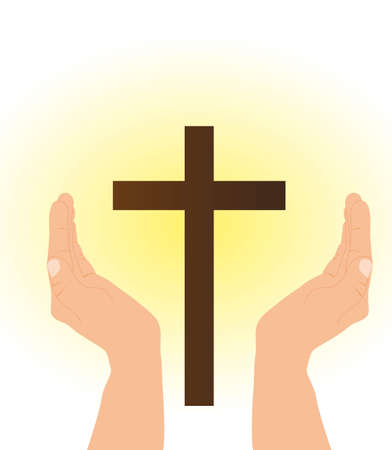 hand and cross with yellow light. vector illustration Stock Vector - 11618452