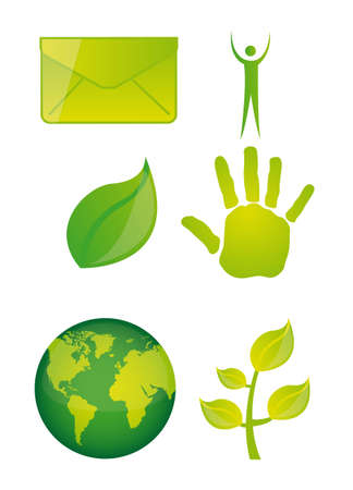 green icons isolated over white background. vector illustration Vector