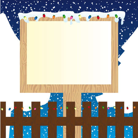 wooden sign with lights over winter landscape. vector illustration Stock Vector - 11618515