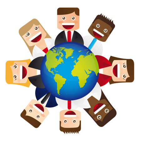 planet over people icons over white background. vector Vector