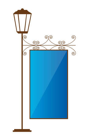 edwardian: brown lamp street with blue copy space. vector illustration