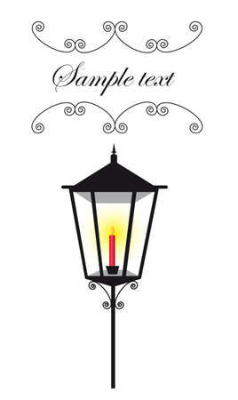 post: black lamp street with red candle and copy space. vector