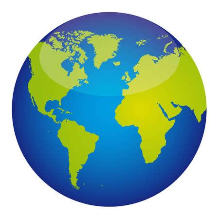 wereldbol groen: blauwe en groene planeet met transparantie. vectorillustratie Stock Illustratie
