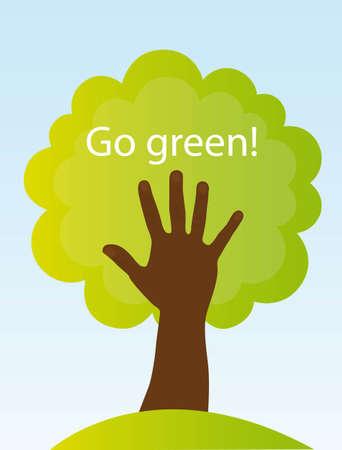 árbol y la mano de negro, signo conceptual. Go Green Ilustración de vector
