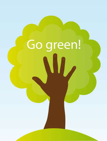 green concept: tree and black hand, conceptual sign. go green Illustration