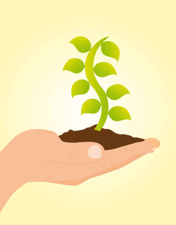 origin: hand holding plant over yellow background. vector illustration
