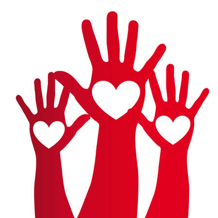 heart over red hand over white background. vector illustration Vector