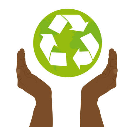 black hand holding recycle sign over white background. vector Vector