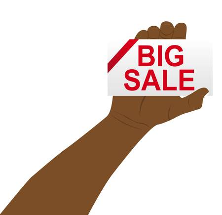 hand holding with big sale card over white background. vector Stock Vector - 11618586