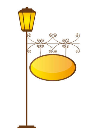lamp post: brown lamp street with yellow copy space. vector illustration