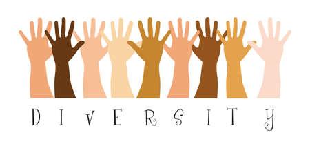 mains diversitty sur fond blanc. illustration vectorielle