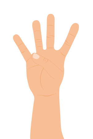 familiarity: hand with four fingers up over white background. vector