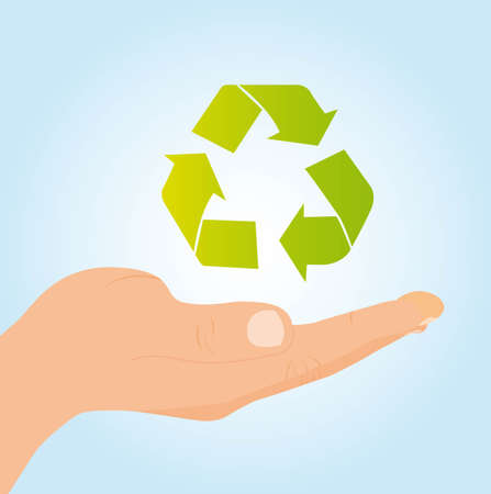 hand holding recycle sign over blue background. vector Vector