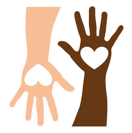 reach: heart over caucasian and black hands. vector illustration